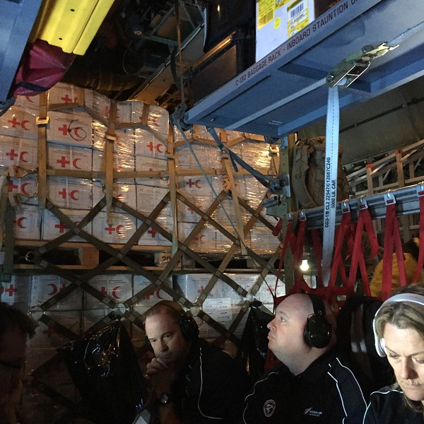 Relief supplies and NZMAT personnel on C-130 relief flight to Nausori (2 March)