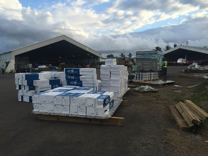 Supplies for FEA brought in by C-130 relief flight (16 March)