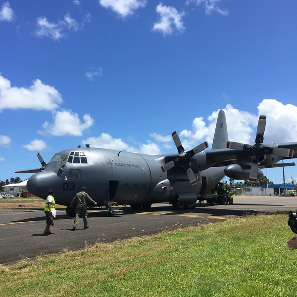 C-130 relief flight arrives at Nausori (2 March)