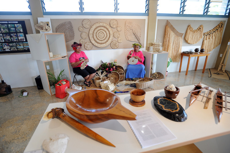 Women hand craft makers at the Niue Visitor Information Centre, Pacific Mission 2012, Alofi, Niue, Wednesday, July 25, 2012. Credit:SNPA / Ross Setford