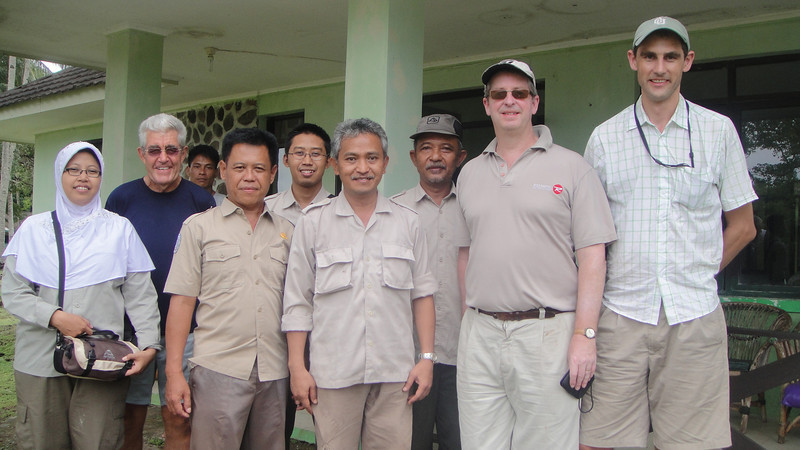 Agus Priambudi, Director of the Ujung Kulon National Park (center) and his staff alongside Amb. David Taylor and P.O. James Waite. In Banten Province, West Java, April 2011.<br /> <br /> Photo by Hannah Taylor