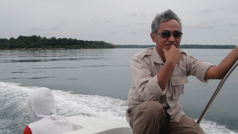 Agus Priambudi, Director of the Ujung Kulon National Park. Priambudi was a Otago University graduate. Ujung Kulon National Park, April 2011.