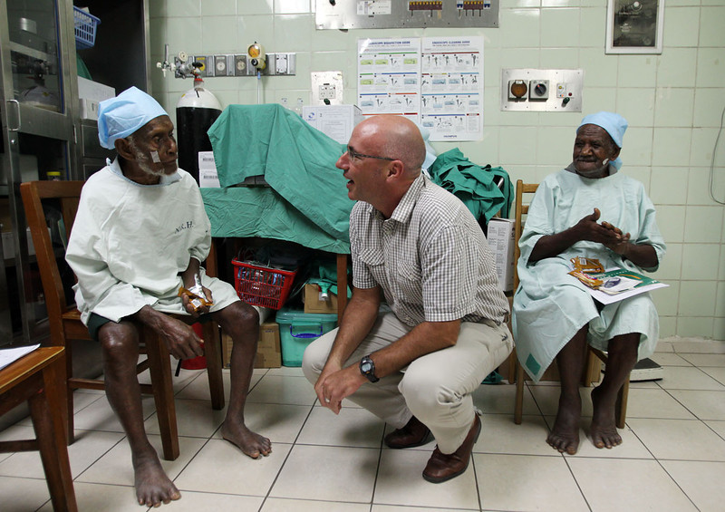New Zealand High Commissioner to the Solomon Islands Mark Ramsden visits patients at the National Referral Hospital in Honiara after they have had surgery performed by the Pacific Eye Institute's surgical outreach team. Credit ©Michael Bradley.