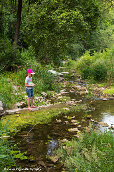 Young girl standing along Bear Creek at Bixby State Preserve near Edgewood in Northeast Iowa<br /> <br /> July 11, 2012