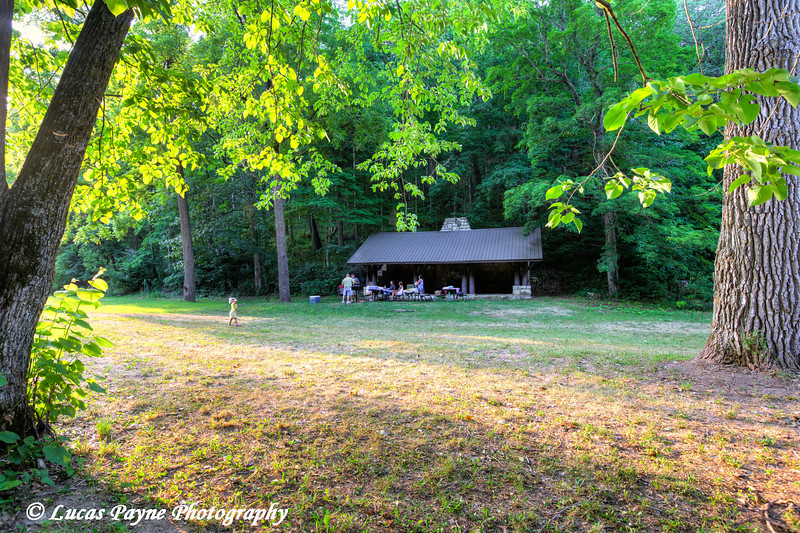 Family having a picnic at Bixby State Preserve near Edgewood in Northeast Iowa<br /> <br /> July 11, 2012