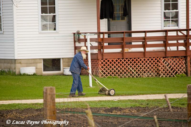Amish man mowing lawn near Hazelton, Iowa.<br /> April 08, 2010