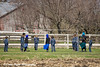 Amish school children playing volleyball near Hazelton, Iowa.<br /> April 08, 2010