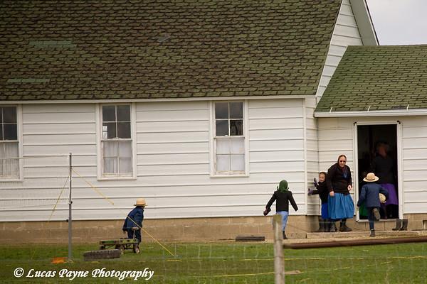 Amish school and children near Hazelton, Iowa<br /> April 08, 2010