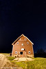 Red barn under a clear starry night near Edgewood in Northeast Iowa.<br /> <br /> October 27, 2013