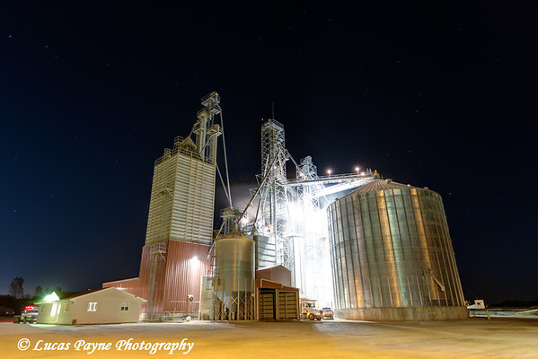 Nighttime view of the Edgewood Feed Mill grain elevator site, Edgewood, Northeast Iowa.<br /> <br /> October 21, 2013