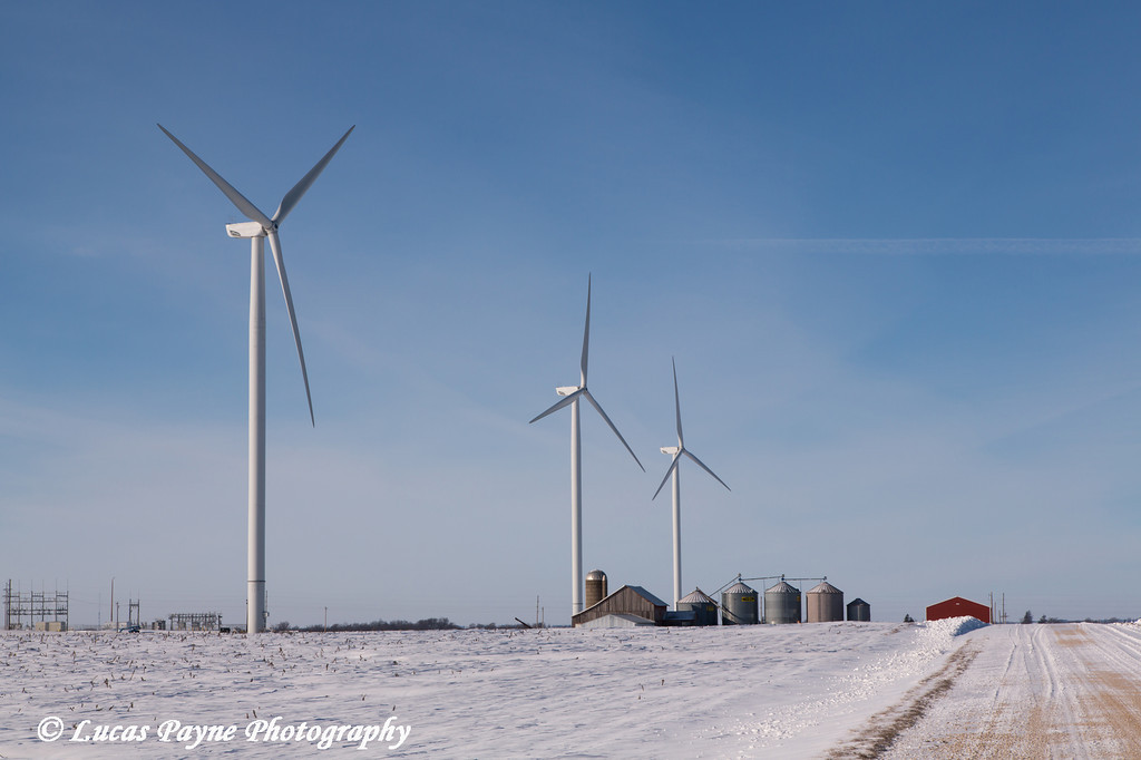 Wind turbines from the Elk Wind Energy Farm and a snow covered landscape near Greeley in Northeast Iowa<br /> <br /> December 25, 2012