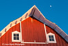 Red barn and the moon on a farm near Edgewood in Northeast Iowa<br /> <br /> December 21, 2012