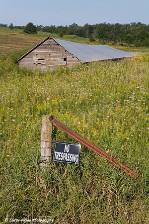 No Trespassing sign on my Grandma Moser's Farm near Edgewood, Iowa<br /> August 26, 2008