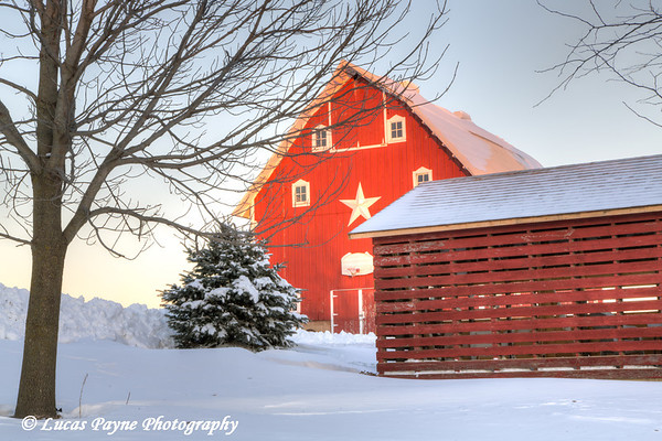 Red barn and corn crib with fresh snow on a farm near Edgewood in Northeast Iowa<br /> <br /> December 21, 2012
