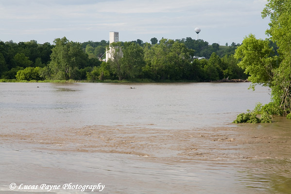 The Turkey River flooding in Elkader, Iowa.