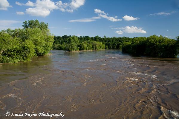 The Turkey River flooding farm land in Garber, Iowa.