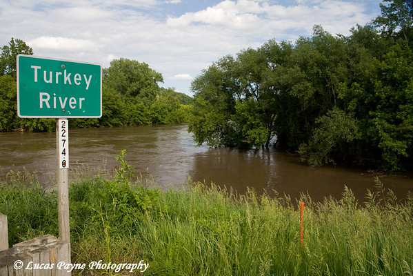 The Turkey River over its banks in Elkader, Iowa.