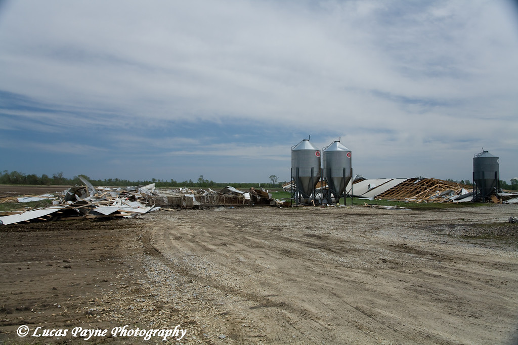 Tornado damage to a couple hog buildings between Fairbank and Dunkerton, Iowa. <br /> May 26, 2006
