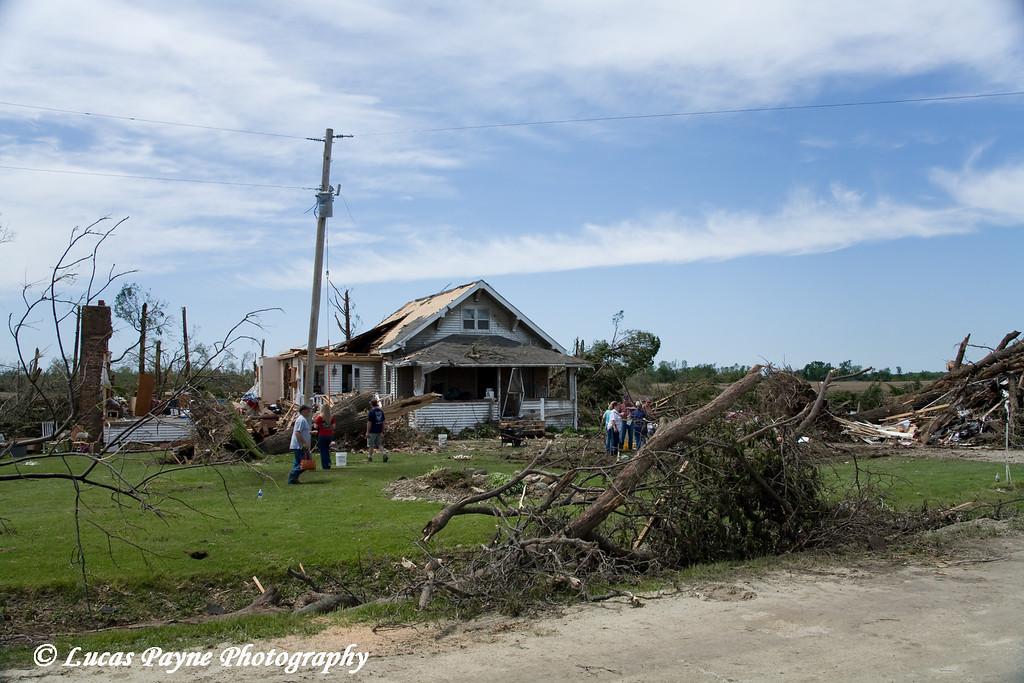 Tornado damage between Fairbank and Dunkerton, Iowa. <br /> May 26, 2006