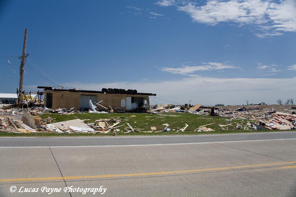 Tornado damage in Hazelton, Iowa.<br /> May 26, 2008