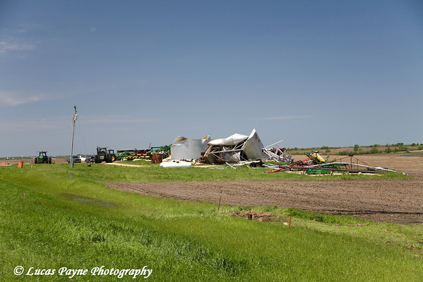 Tornado damage between Aurora and Hazelton, Iowa.<br /> May 26, 2008