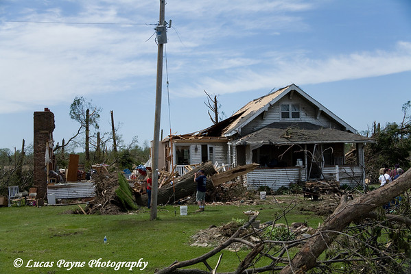 Tornado damage between Fairbank and Dunkerton, Iowa. <br /> May 26, 2006