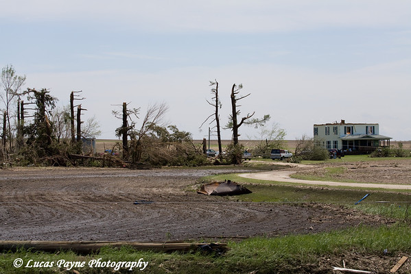 Tornado damage near Aurora, Iowa. <br /> May 26, 2008