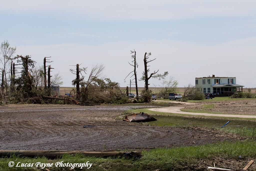 Tornado damage near Aurora, Iowa. <br /> May 26, 2008