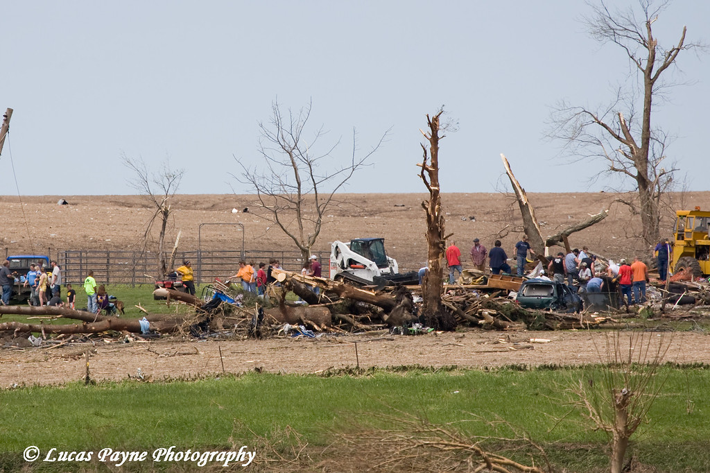 Tornado damage near Aurora, Iowa. <br /> May 26, 2008. This is whats left of a house that use to sit here.