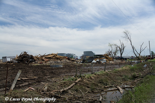 Tornado damage to another set of hog buildings between Fairbank and Dunkerton, Iowa. <br /> May 26, 2006