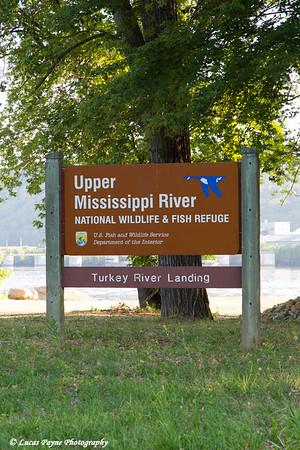 Upper Mississippi River National Wildlife & Fish Refuge sign at the Turkey River Landing near Millville in Northeast Iowa<br /> <br /> July 11, 2012