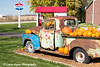 Old Chevrolet Pickup in front of an old time gas station in Farmersburg, Iowa.<br /> <br /> October 25, 2017