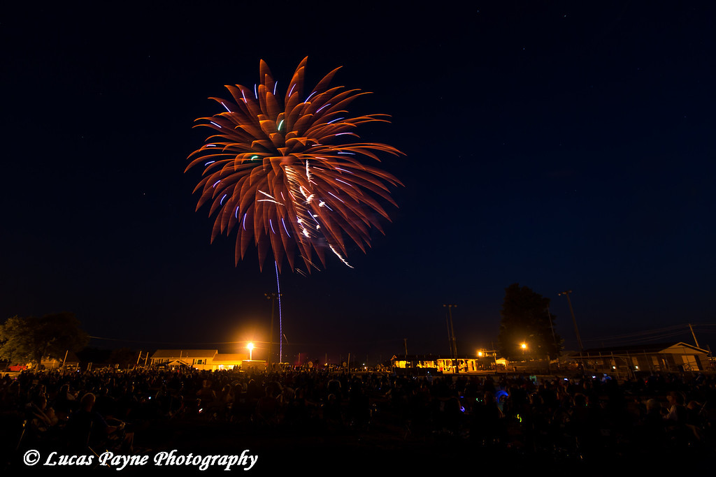 Crowd of people viewing the Fourth of July Fireworks in Earlville, Iowa<br /> <br /> July 04, 2012