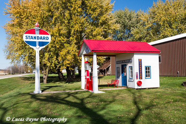 Old time gas station in Farmersburg, Iowa.<br /> <br /> October 25, 2017