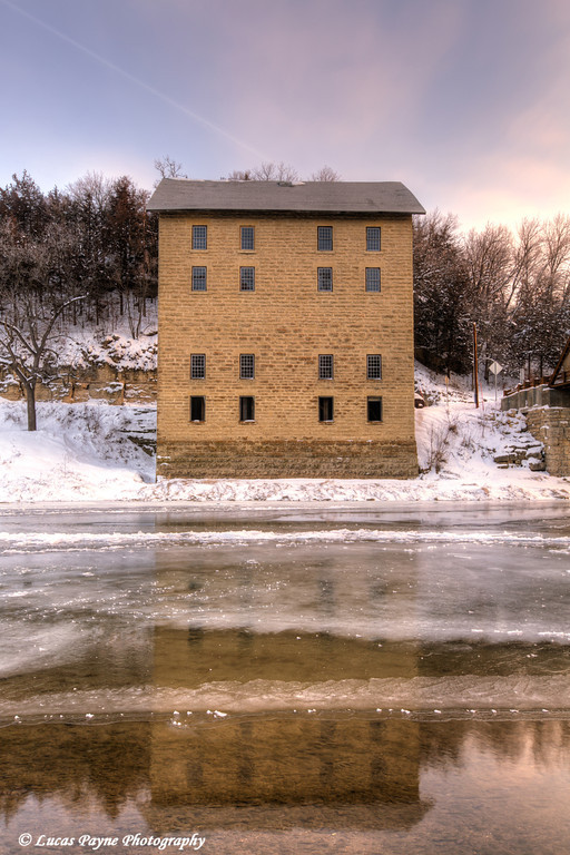 Motor Mill reflecting in the Turkey River,  Clayton County, Northeast Iowa<br /> <br /> December 21, 2012
