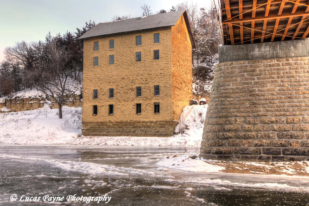 New bridge and Motor Mill along the Turkey River,  Clayton County, Northeast Iowa<br /> <br /> December 21, 2012