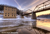 New bridge and Motor Mill reflecting in the Turkey River,  Clayton County, Northeast Iowa<br /> <br /> December 21, 2012