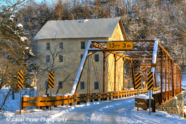 New bridge crossing the Turkey River at the Motor Mill Historic Site in Clayton County in Northeast Iowa<br /> <br /> December 27, 2012