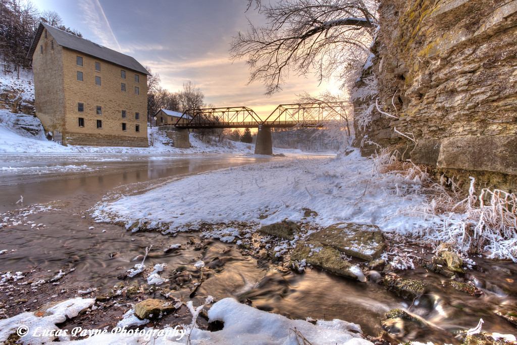 Water flowing into the Turkey River at the Motor Mill State Historic Site, Clayton County, Northeast Iowa<br /> <br /> December 21, 2012