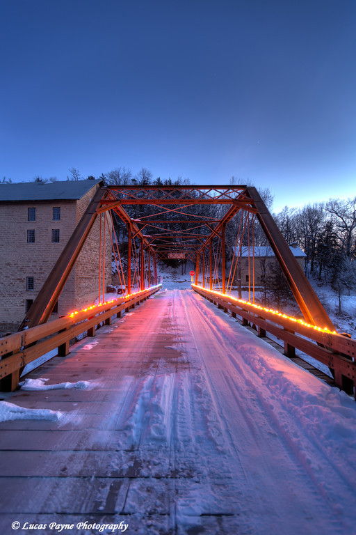 Christmas lights on the bridge crossing the Turkey River at Motor Mill in Clayton County in Northeast Iowa<br /> <br /> December 21, 2012