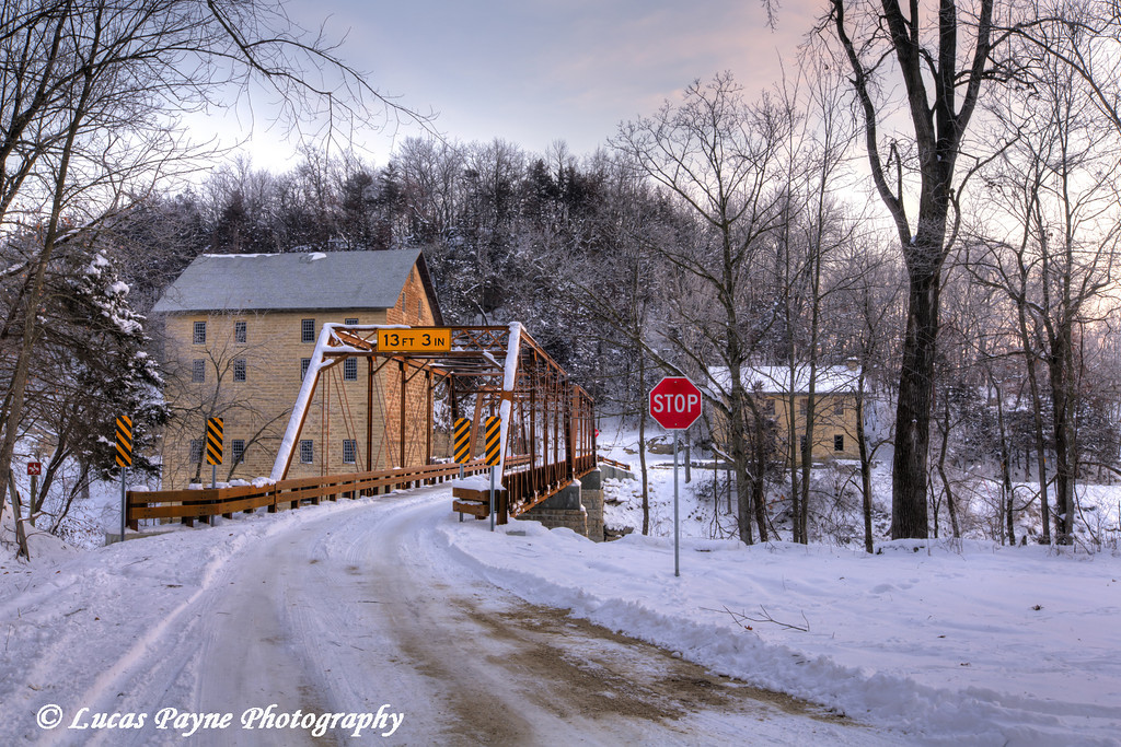 Fresh snow on the new bridge crossing the Turkey River at the Motor Mill Historic Site in Clayton County in Northeast Iowa<br /> <br /> December 21, 2012