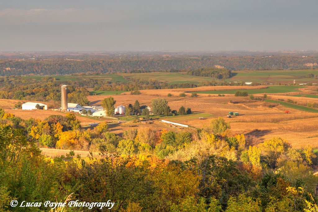 Scenic view of the rolling farmland and fall foliage along The Great River Road near Balltown in Northeast Iowa.<br /> <br /> October 20, 2013