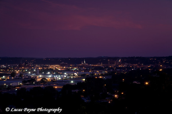 Dubuque, Iowa at night from Eagle Point Park<br /> August 31, 2008