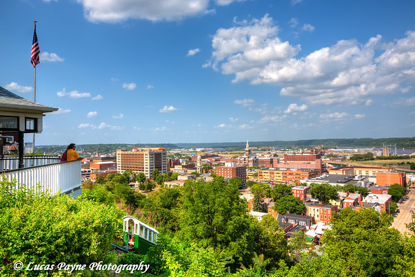 View of Downtown Dubuque and the Fenelon Place Elevator, Northeast Iowa<br /> <br /> July 03, 2012