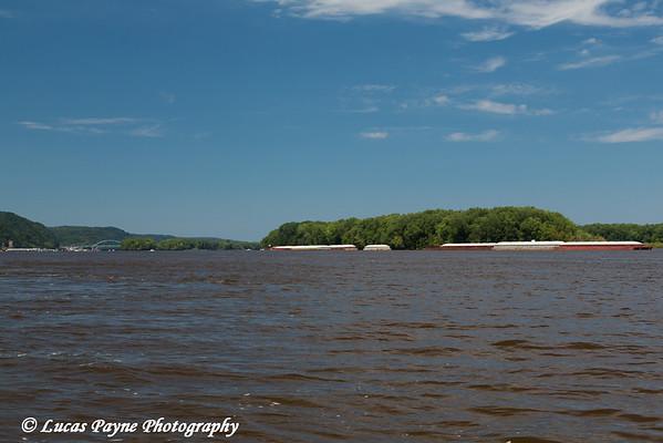 Barges on the Mississippi River near McGregor Iowa<br /> <br /> July 07, 2012