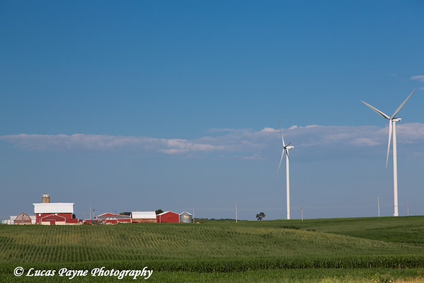 Wind turbines from the Elk Wind Energy Farm and a corn field with farm buildings near Edgewood in Northeast Iowa<br /> <br /> July 08, 2012