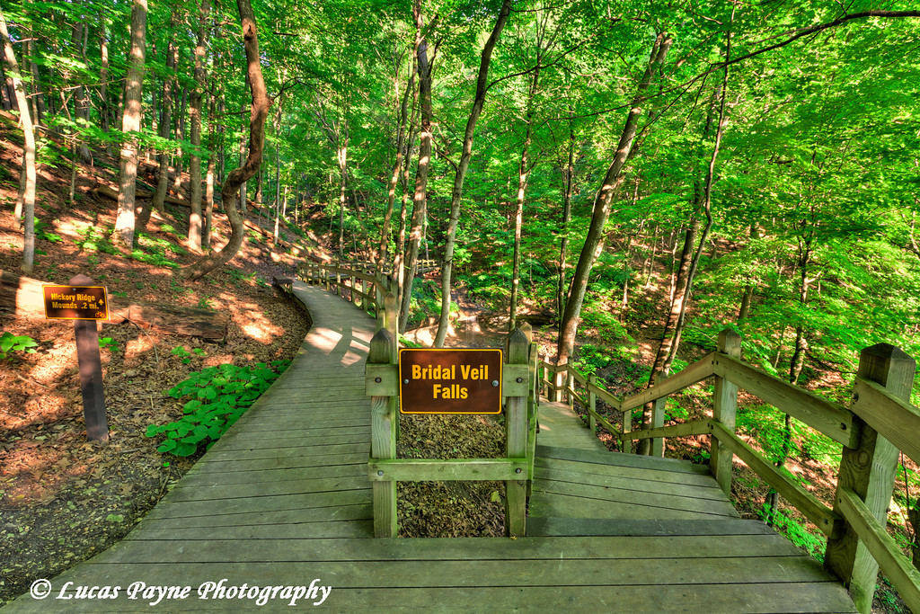 Bridal Veil Falls sign and hiking trail at Pikes Peak State Park in Northeast Iowa.<br /> July 05, 2011<br /> HDR