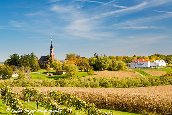Rolling farm fields and Saints Peter & Paul Catholic Church in Sherrill, Iowa<br /> <br /> October 17, 2017