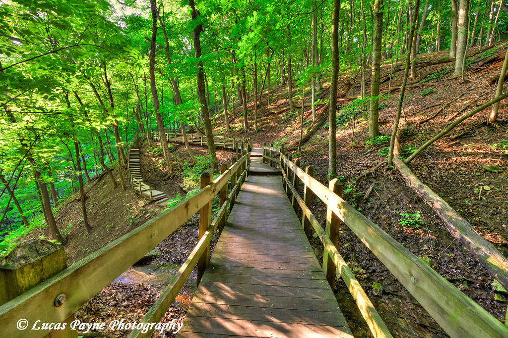 Wooden walkway to Bridal Veil Falls at Pikes Peak State Park in Northeast Iowa.<br /> July 05, 2011<br /> HDR