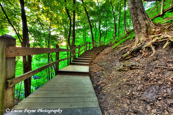 Stairway to Bridal Veil Falls at Pikes Peak State Park in Northeast Iowa<br /> July 05, 2011<br /> HDR